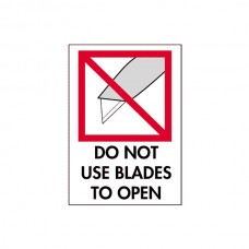 "International Safe Handling Labels - ""Do Not Use Blades to Open"""